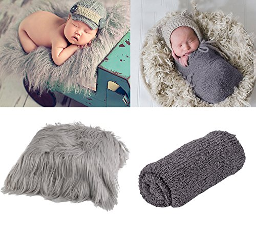 ZOYLINK Abrigo para Recién Nacidos, Photo Prop Long Hair Fotografía para Recién Nacidos Wrap Photo Blanket Tapete Shaggy Area con Ripple Wrap para Bebé