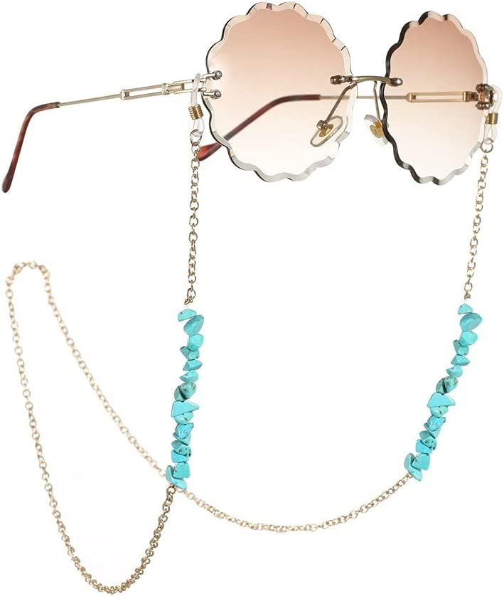 XJJZS Glasses Chain for Women Bohemian Natural Stone Lanyard Glasses Strap Sunglasses Cords Casual Glasses Accessories (Color : A, Size : Length-70CM)