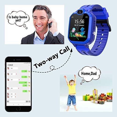 LDB Kinder Smartwatch Telefon, Wasserdicht Phone LBS Tracker Mikrochat SOS Taschenlampe Mathe Spiel Wecker Touchscreen (Blau)