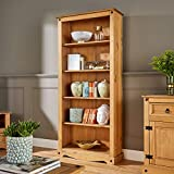 Corona Tall Pine Bookcase 5 Book Shelves Mexican Solid Wood Living Room