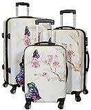 Kofferset Gepäckset Polycarbonat ABS Hartschalen Koffer 3tlg. Set Trolley Reisekoffer Reisetrolley Handgepäck Boardcase PM (Asia Butterfly)