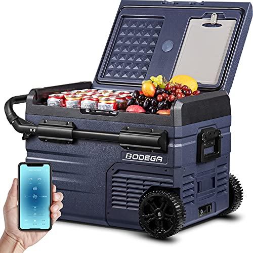 BODEGA 12 Volt Car Refrigerator, Car Fridge Dual Zone APP Control, Portable Freezer,37 Quart (35L) -4℉-68℉ RV Electric Compressor Cooler 12/24V DC and 100-240V AC for Outdoor, Camping, Travel,RV