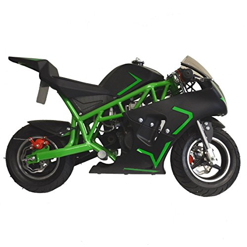 Superrio New Gas Mini Pocket Bike Motorcycle 40cc 4-Stroke Engine (Green)