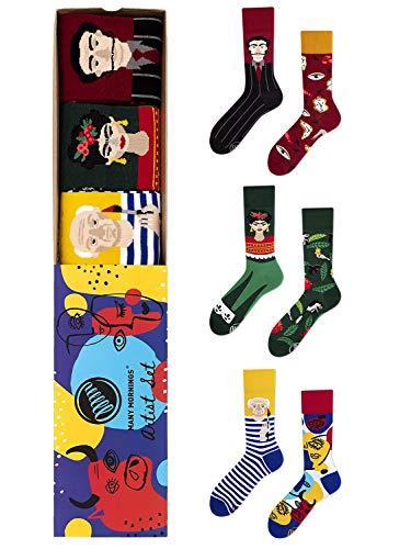 Many Mornings unisex Socken Strümpfe Set 3 Paar Artist Picasso Dali Kahlo (39-42)