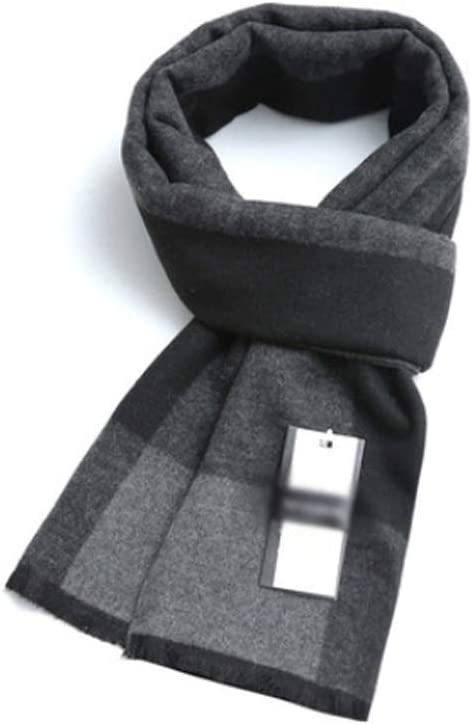 ZANZAN Cold Weather Scarves Mens Scarf, Large Fall/Winter Soft Fashion Shawl Wrap Thick Long Plaid Scarves The Best Gift for Family and Friends Decorative Scarf (Color : Black Gray)
