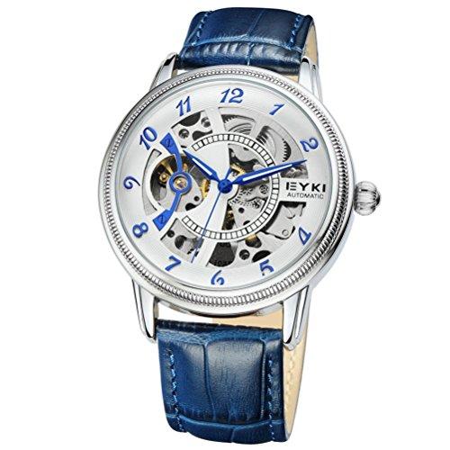 PIXNOR EYKI 8752 - Reloj de pulsera para hombre, redondo, de acero inoxidable, mecánico, automático, esfera con banda de poliuretano (azul)