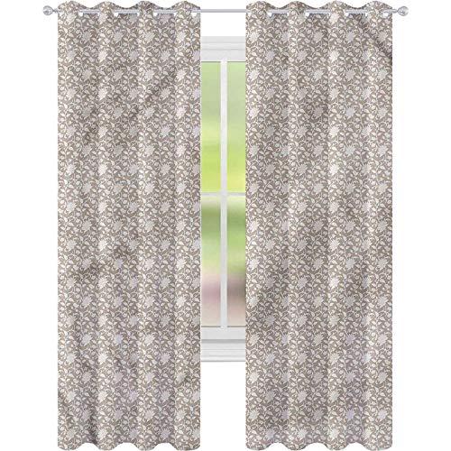 Cortina de ventana con flores antiguas para sala de estar (5