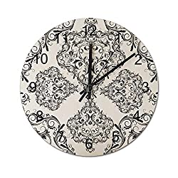 wendana Black and White Damask Pattern Modern Wood Wall Clocks Battery Operated Silent Non Ticking for Living Room Decor Bedrooms Nursery 12 Inches