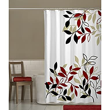 Maytex Mills Satori Fabric Shower Curtain, Red