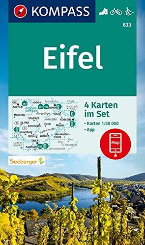 KOMPASS Wanderkarte Eifel: 4 Wanderkarten 1:50000 im Set inklusive Karte zur offline Verwendung in der KOMPASS-App. Fahrradfahren. Langlaufen. (KOMPASS-Wanderkarten, Band 833)