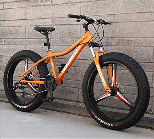 XXCZB - Bicicleta de montaña de 26 pulgadas Fat Tire Hardtail con doble suspensión y horquilla de suspensión, All Terrain, para hombre, bicicleta de montaña para adultos, color naranja