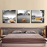 SJYHNB Cuadro sobre Lienzo Barco gris y lago y madera Moderna Lienzo Pintura HD Arte Carteles Y Grabados Pared Arte Imagen para Sala De Estar Hogar Decoración 60 x 60 cm x 3 Paneles (con Marco)