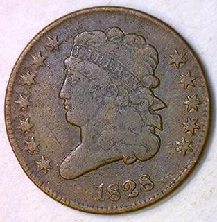 1828 P Classic Head Twelve Stars, C-2 Variety Half Cent F