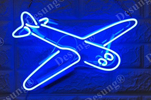 Desung Brand New 14' Plane Airplane Gift Lamp Decorated Acrylic Panel Handmade Custom Design Neon Sign Light WD34