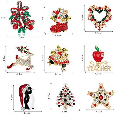 GREENWISH 9 Pack Multi-Colored Rhinestone Crystal Christmas Brooch Pin Set Including Reindeer Candy Cane Bell Christmas Tree Wreath Snowflakes Enamel Brooch Pin Crystal Rhinestone Jewelry Gift