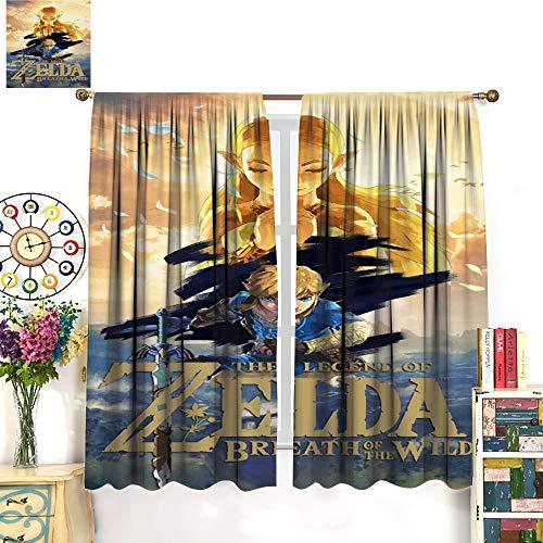 Petpany Hyrule Warrior Zelda Age of Disaster Hot Blood Game Cortinas resistentes al desgaste, 132 x 213 cm, cortinas oscuras en la habitación aislada de la sala de estar, para comedor, dormitorio