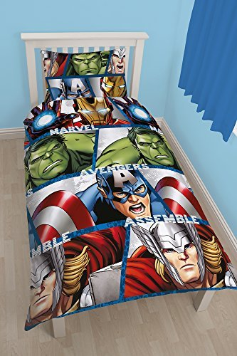 Official Avengers Iron Man, Hulk, Thor, Captain America Single Duvet Quilt Cover Set