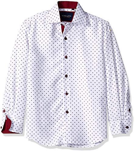 Azaro Uomo Toddler Adorable Kid Boys Button Down Shirt Sailor Like Dad Children, Burgundy PEGS, 12