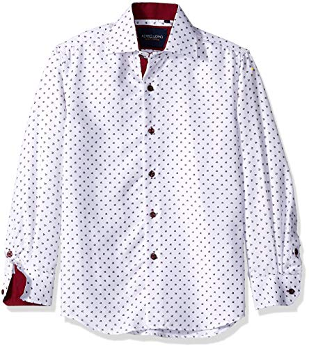 Azaro Uomo Toddler Adorable Kid Boys Button Down Shirt Sailor Like Dad Children, Burgundy PEGS, 12