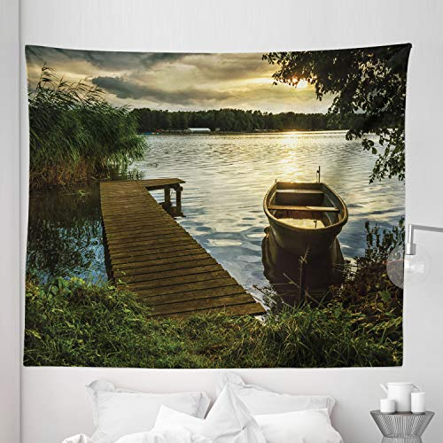 Lunarable Seascape Tapestry King Size, Boat at Lake Shore with Wooden Pier Sunset Sunbeams Romantic Evening, Wall Hanging Bedspread Bed Cover Wall Decor, 104' X 88', Green Yellow