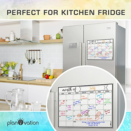 Magnetic Dry Erase Refrigerator Calendar by planOvation | Large 2017 Calendar Whiteboard Monthly Planner Magnet