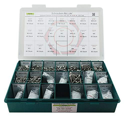 Sortiment M3 + M4 DIN 7991 (ISO 10642) Edelstahl A2 (V2A) Senkschrauben (Innensechskant) - Set bestehend aus Schrauben, Unterlegscheiben (DIN 125, 127, 9021) und Muttern (DIN 934, 985) - 1200 Teile
