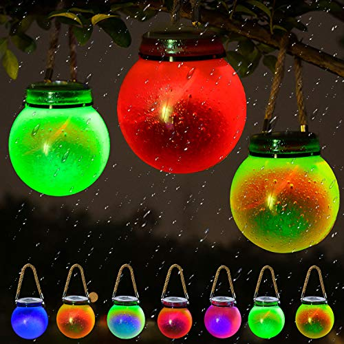Solar Waterproof Hanging Outdoor Color-Changing Light LED Mini Glass Ball Park Decoration Earth Galaxy Light Holiday Party Decoration Fairy Starry Sky 3D Night Light