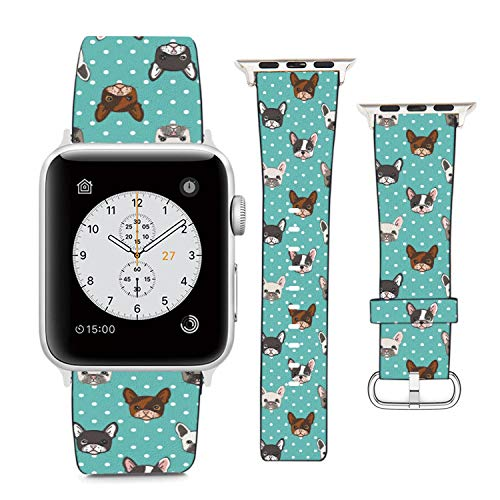 Compatible with Apple Watch Wristband 42mm 44mm, (French Bulldog On Turquoise Polka Dot Background) PU Leather Band Replacement Strap for iWatch Series 5 4 3 2 1