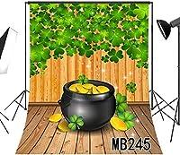 写真撮影のためのHD聖パトリックの日の背景7x10ftグリーンシャムロッククローバー春の背景素朴な木の床写真の背景スタジオ小道具ビニールカスタマイズMB245