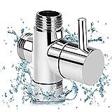 Linkax 3 Wege Umschaltventil Dusche Adapter Umstellventil Ventil Umschalter G 1/2' massives Messing Chrom Poliert