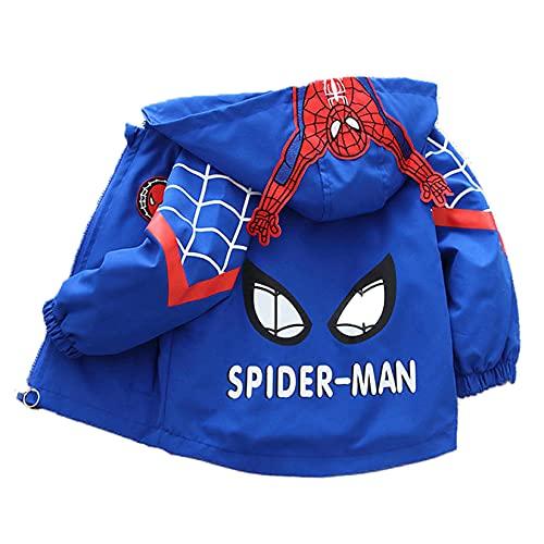 Hflyy Garçons Super-héros Sweat Capuche Zippé Enfants Spiderman Sweat Capuche Avengers Sweats Enfant Pull Coupe-Vent Pull Décontracté Extérieur Pull Manteau Vestes Sport Cardigans,Blue-L/90~100cm