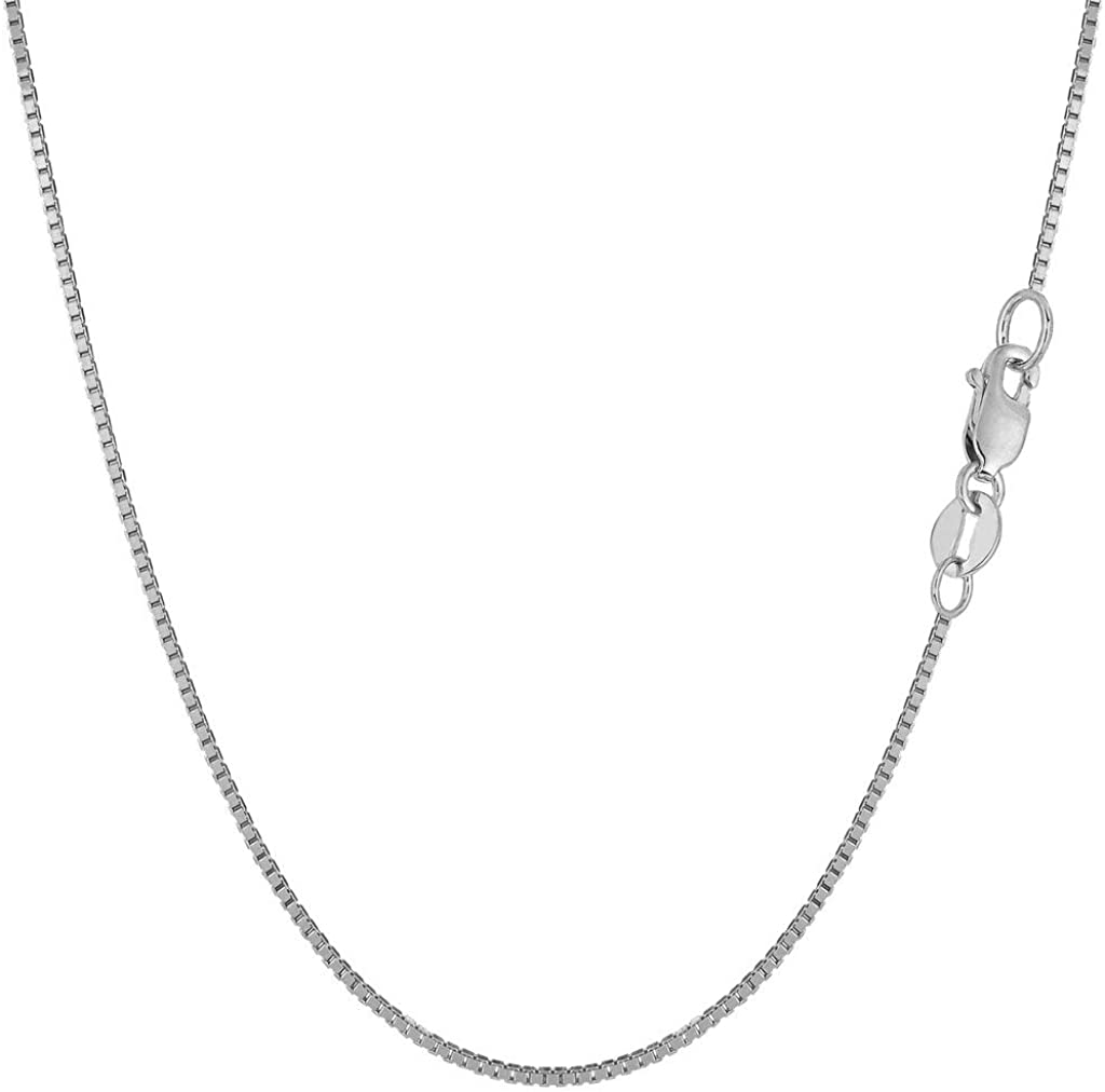 14K SOLID Yellow OR White Or Rose/Pink Gold 0.80mm Shiny Classic Mirror Box Chain with Lobster-Claw Clasp (13