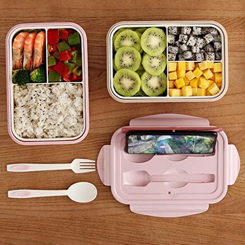 Auslaufsichere Bento-Brotdose für Kinder Mikrowellenheizung Geteilter Mittagsbehälter-Set mit 4 Klemmen Süße sichere Vorbereitungsbox für Jungen Mädchen Kinder Schule (Pink)