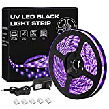 YeeSite 33ft UV LED Black Lights Strip Kit with Remote Control, 600 Units Lamp Beads, 12V/3A Flexible Blacklight Fixtures for Fluorescent Dance Party Body Paint Stage Lighting (10M)