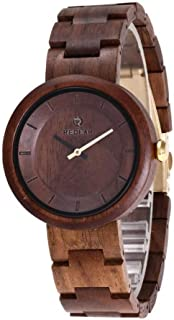 Hexiaoyi Women's Watch Wooden Business Watch Boutique Brown Watch For Female (Color : Watch1)