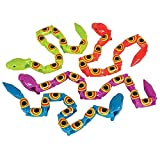 Kicko Wacky Wiggly Jointed Snakes - 12 Pack - 15 Inch - Long Plastic Snake Toys with Movable Pieces, Teach Children to Spell, Fidget Party Favor Toy Idea for Kids, Boys and Girls