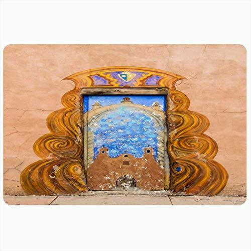 N\\A Badematte Adobe Fe USA 30. Juli Kapelle Miguel Historisches Design Staaten Architektur Vintage Old Mexico Kolonial Dekorative Plüsch Bad Teppiche Matten Dekor Fußmatte rutschfeste Unterlage