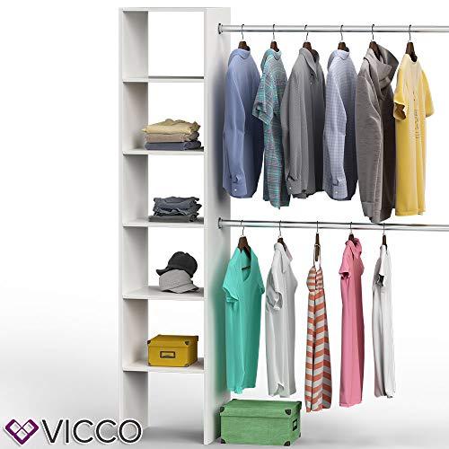 Vicco Kleiderschrank Visit 190 x 140 cm Weiß Dielenschrank Flurgarderobe - offen begehbar Kleiderständer Garderobe Diele Flur Nische Garderobenständer (Weiß Matt)