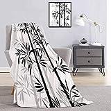 Toopeek - Manta de franela para árbol de la vida, diseño de hojas de bambú espiritual, color negro y blanco
