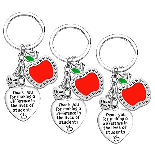 Teacher Appreciation Gift for Women, 3PCs Teacher Keychain Set, Jewelry Gift for Teachers, Birthday Gift for Teacher Gifts from Students (Thank You for Making a Difference in The Lives of sutdents)