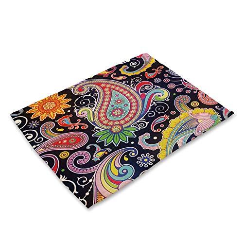 JKLJKL Color patrón étnico algodón Lino placemat Rectangular Indio rosavas Tartas Cena Mesa vajilla decoración (Color : Pattern 6, Shape Style : 42x32cm)