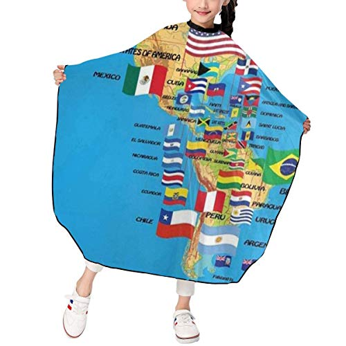 HHJJI Kinder Nord- und Südamerika Karte mit Flaggen und Land Haarschnitt Schürze personalisierte Friseur Haarschneidekap wasserdicht für Haarschnitt Styling Kittel Abdeckung Stoff