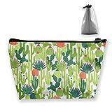 Regalo ideale - Cactus Succulents Multifunzione Trapezoidale Storage Bag Borsa cosmetica Piccola borsa per il trucco Borsa da toilette Borsa da viaggio portatile con cerniera