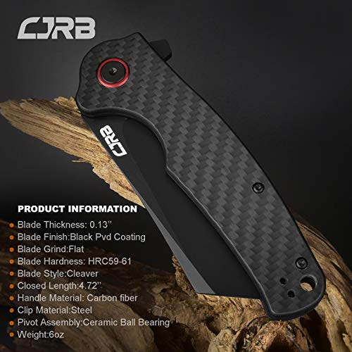 CJRB CUTLERY Folding Knife Crag (J1904) AR-RPM9 Powder Steel Black PVD Blade Carbon Fiber Handle Pocket Knife EDC Knife