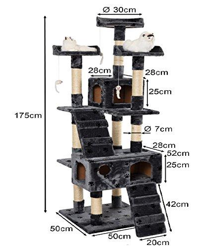 Lethzer Kratzbaum Katzenbaum Katzenkratzbaum mit Höhle Kletterleiter Liegeplattform Spielelemente 175cm hoch in Farbe Braun mit Pfotenabdruck - 4