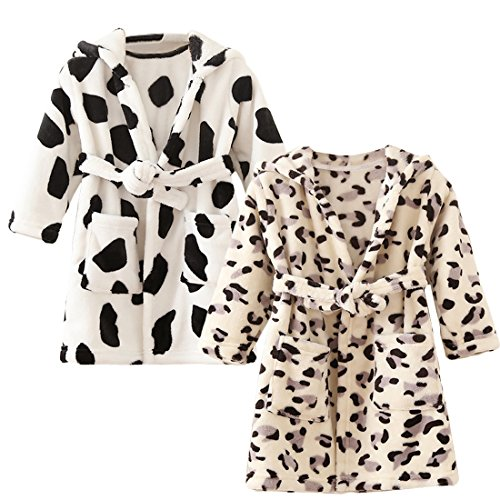 kilofly 2 Sets Soft Cozy Flannel Hooded Bathrobe Toddler Kids Pajama Sleepwear