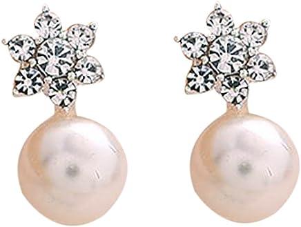 Bobury 1 Par Aretes de los copos de nieve muchachas de las mujeres pendientes de imitación perlas de cristal Flor Stud