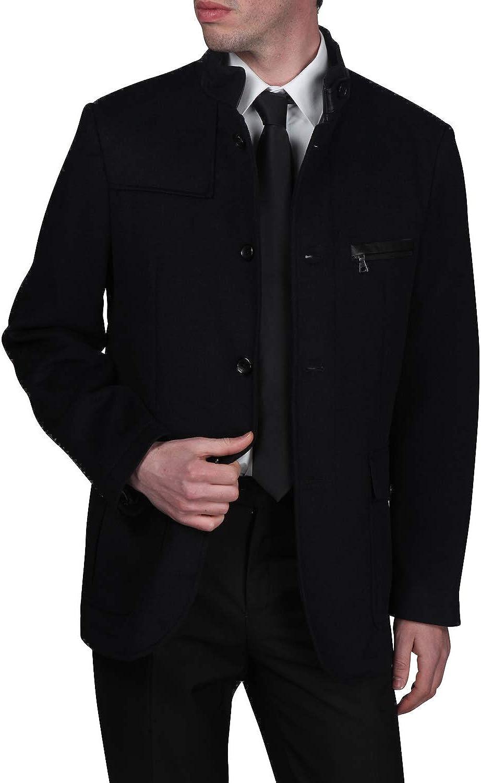 Bachrach Men's Single Breasted Jacket Wool Blend Mid Weight Walker Coat