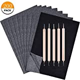 200 Sheets Carbon Paper Graphite Paper Black Carbon Transfer (8.5 x 11.5 inch) Tracing Paper with 5 PCS Embossing Styluses Stylus Dotting Tools for Wood, Paper, Canvas