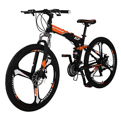 """Folding Bike 21 Speed Full Suspension Mountain Bicycle 27.5"""" Daul Disc Brake (Orange)"""